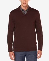 Perry Ellis Men's Lightweight Shawl Collar Sweater Port