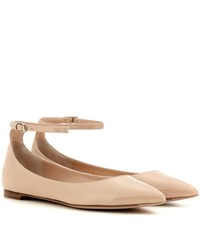 Gianvito Rossi Gia Patent Leather Ballerinas Beige