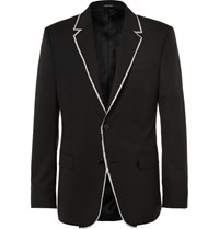 Alexander Mcqueen Black Slim Fit Fray Trimmed Wool Jacket Black