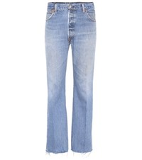 Re Done Lea High Waisted Cropped Jeans Blue