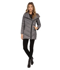 Sam Edelman Pryce Asymmetrical High Denist Down Jacket Charcoal Women's Coat Gray