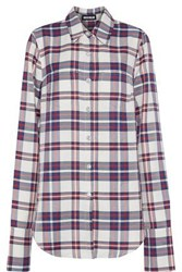 House Of Holland Button Detailed Checked Twill Shirt Navy