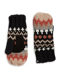Isotoner Chevron Knit Sherpa Lined Mittens Black