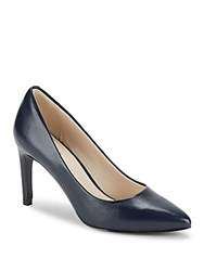 Cole Haan Abigail Grand Point Toe Leather Stilettos Marine Blue