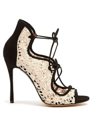Tabitha Simmons Cali Lace And Suede Sandals White Black
