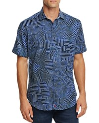 Robert Graham Colonel Tigh Short Sleeve Classic Fit Button Down Shirt Blue