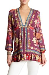 Free People Violet Hill Printed Tunic Purple