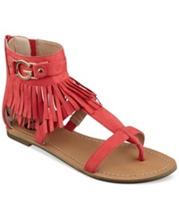 G By Guess Women's Hazed Fringe Gladiator Thong Sandals Women's Shoes Coral