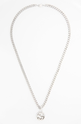 Gucci Interlocking Pendant Necklace Silver