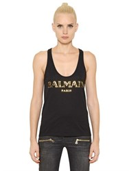 Balmain Logo Printed Cotton Jersey Tank Top