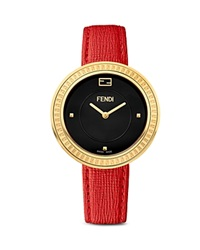 Fendi My Way Watch With Yellow Gold Tone Case And Calf Leather Strap With Fur Glamy 36Mm
