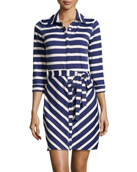 Jb By Julie Brown London Striped Shirt Dress Navy Ivory