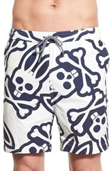 Men's Psycho Bunny Print Swim Trunks Navy