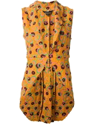 Comme Des Garcons Vintage Floral Embroidered Waistcoat Yellow And Orange