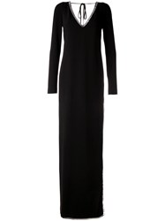 Dsquared2 Sequin Trimmed Gown Women Polyester Spandex Elastane Acetate Viscose 40 Black