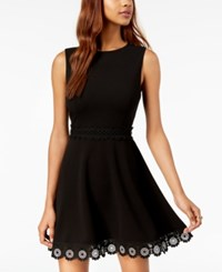 B. Darlin B Juniors' Crochet A Line Dress Black White