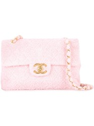 Chanel Vintage Maxi Towelling Shoulder Bag Pink And Purple