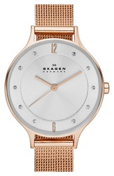 Skagen 'Anita' Crystal Index Mesh Strap Watch 30Mm Rose Gold