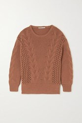 Agnona Cable Knit Cashmere Sweater Brown