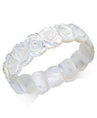 Macy's Mother Of Pearl Rose Carved Stretch Bracelet White