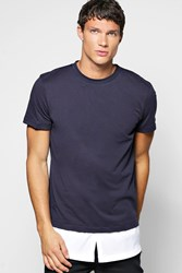 Boohoo Layer T Shirt With Woven Hem Blue