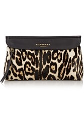 Burberry Leopard Print Calf Hair And Leather Clutch Animal Print