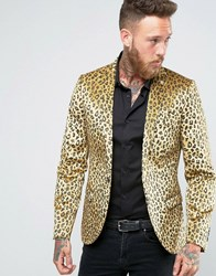 Noose And Monkey Super Skinny Leopard Print Velvet Blazer Gold