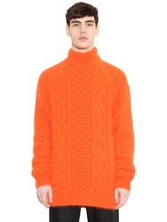 Christopher Kane Angora Wool Turtleneck Sweater Orange