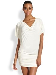 Carmen Marc Valvo Ruched Jersey Coverup Ivory