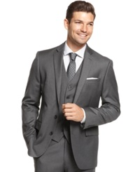 Ryan Seacrest Distinction Grey Striped Slim Fit Jacket
