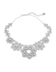 Kate Spade Crystal Pave Flower Bib Necklace Silver