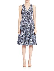 David Meister Embroidered Cocktail Dress Blue Combo