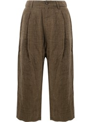Ziggy Chen Wide Leg Cropped Pants Brown