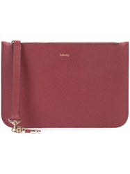 Valextra Medium Zip Pouch Unisex Calf Leather One Size Red