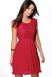 Boohoo Corded Lace Pleated Skater Dress Berry