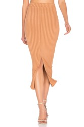 Lavish Alice Flounce Hem Midi Skirt Tan