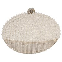 Chesca Pearl Diamante Clutch Bag Ivory
