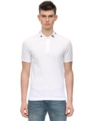 Gucci Embroidered Stretch Cotton Pique Polo White