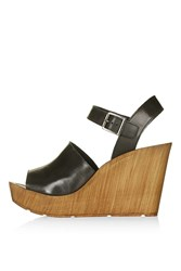 Topshop Willow Two Part Wedge Sandal Black
