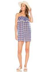 Milly Anguilla Ruffled Strapless Dress Blue