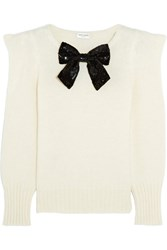 Saint Laurent Sequin Bow Embellished Knitted Sweater Ivory
