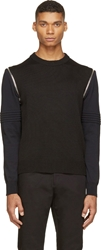 Givenchy Black Knit Zip Sleeve Sweater