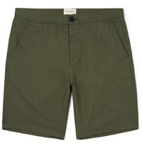 Oliver Spencer Linton Linen And Cotton Blend Shorts Green
