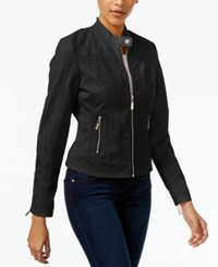 Joujou Jou Jou Faux Leather Moto Jacket Black