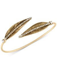 Rachel Roy Gold Tone Pave Feather Bangle Bracelet