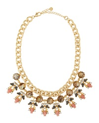 Lydell Nyc Rhinestone Cluster Bib Necklace Golden