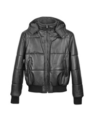 Forzieri Black Leather Hooded Quilted Puffed Jacket