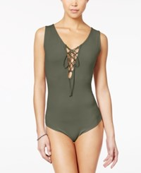 Say What Juniors' Sleeveless Lace Up Bodysuit Dusty Olive
