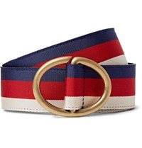 Gucci 3.5Cm Leather Trimmed Striped Webbing Belt Navy