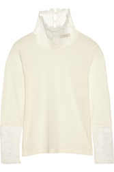 Nina Ricci Lace Trimmed Jersey Turtleneck Top White